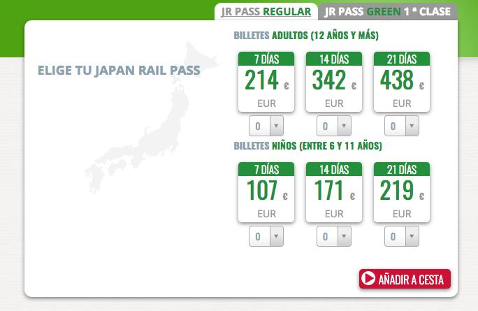 Precio Japan Rail Pass